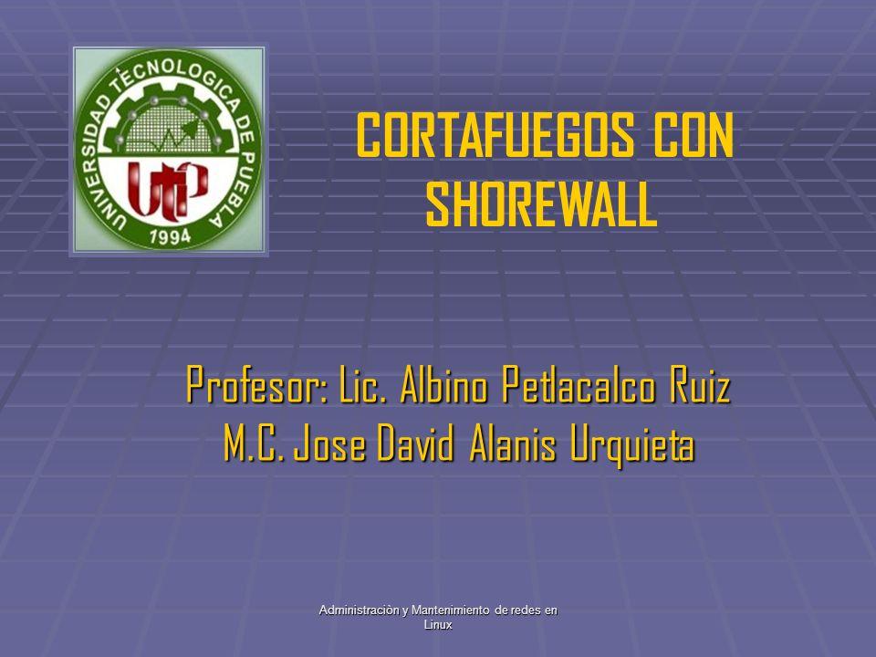 Administraciòn y Mantenimiento de redes en Linux Profesor: Lic. Albino Petlacalco Ruiz M.C. Jose David Alanis Urquieta CORTAFUEGOS CON SHOREWALL