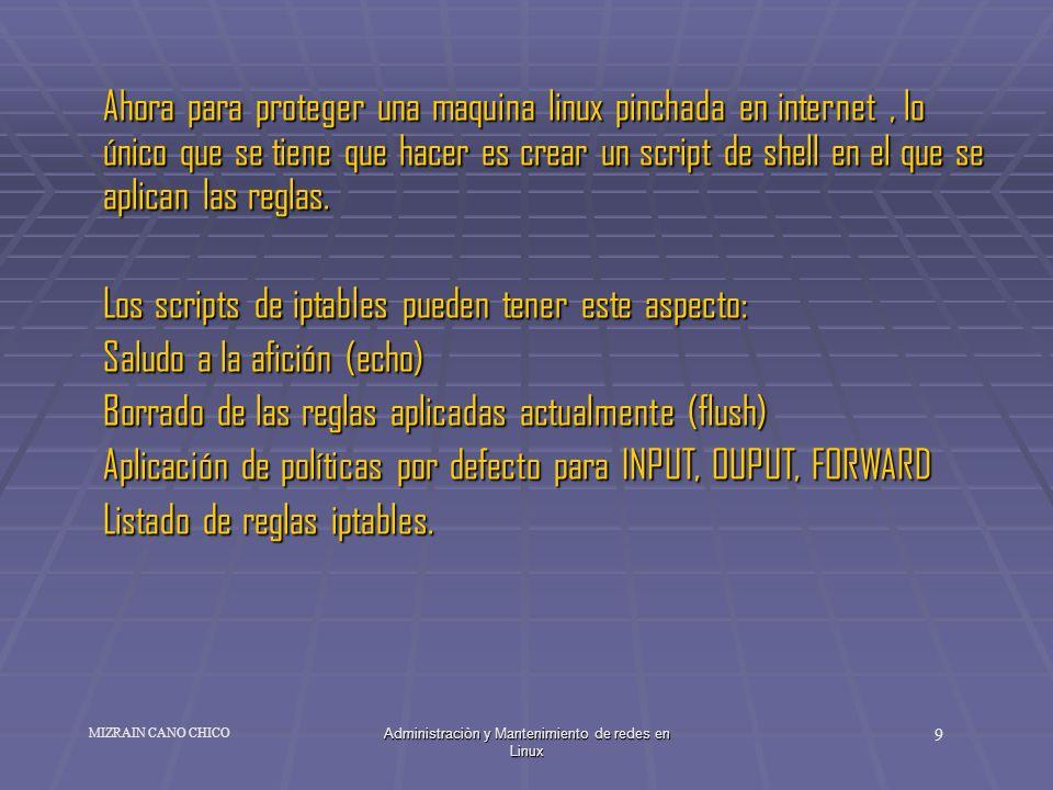 Administraciòn y Mantenimiento de redes en Linux 9 MIZRAIN CANO CHICO Ahora para proteger una maquina linux pinchada en internet, lo único que se tien