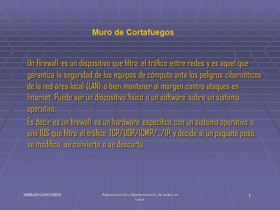 Administraciòn y Mantenimiento de redes en Linux 1 MIZRAIN CANO CHICO Un Firewall es un dispositivo que filtra el tráfico entre redes y es aquel que g