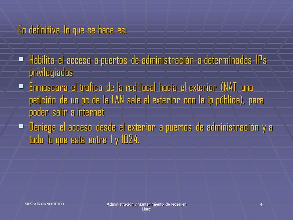 Administraciòn y Mantenimiento de redes en Linux 4 MIZRAIN CANO CHICO En definitiva lo que se hace es: Habilita el acceso a puertos de administración
