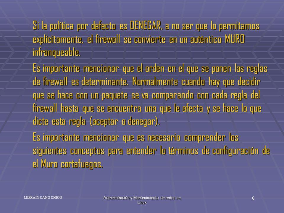 Administraciòn y Mantenimiento de redes en Linux 6 MIZRAIN CANO CHICO Si la política por defecto es DENEGAR, a no ser que lo permitamos explícitamente
