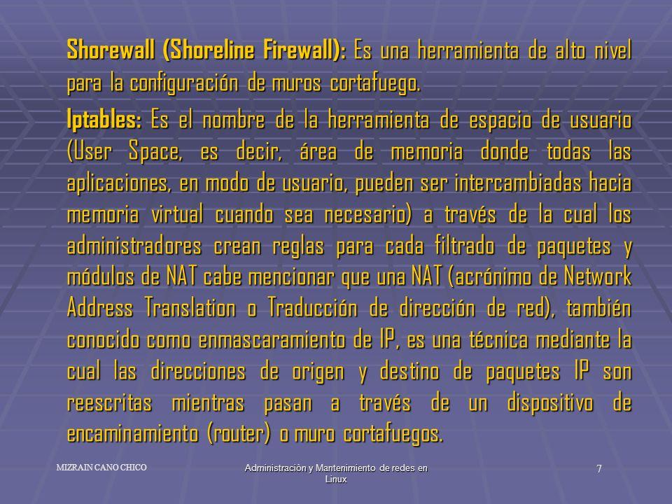 Administraciòn y Mantenimiento de redes en Linux 7 MIZRAIN CANO CHICO Shorewall (Shoreline Firewall): Es una herramienta de alto nivel para la configu