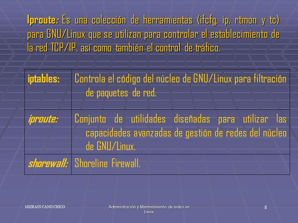 Administraciòn y Mantenimiento de redes en Linux 8 MIZRAIN CANO CHICO Iproute: Es una colección de herramientas (ifcfg, ip, rtmon y tc) para GNU/Linux