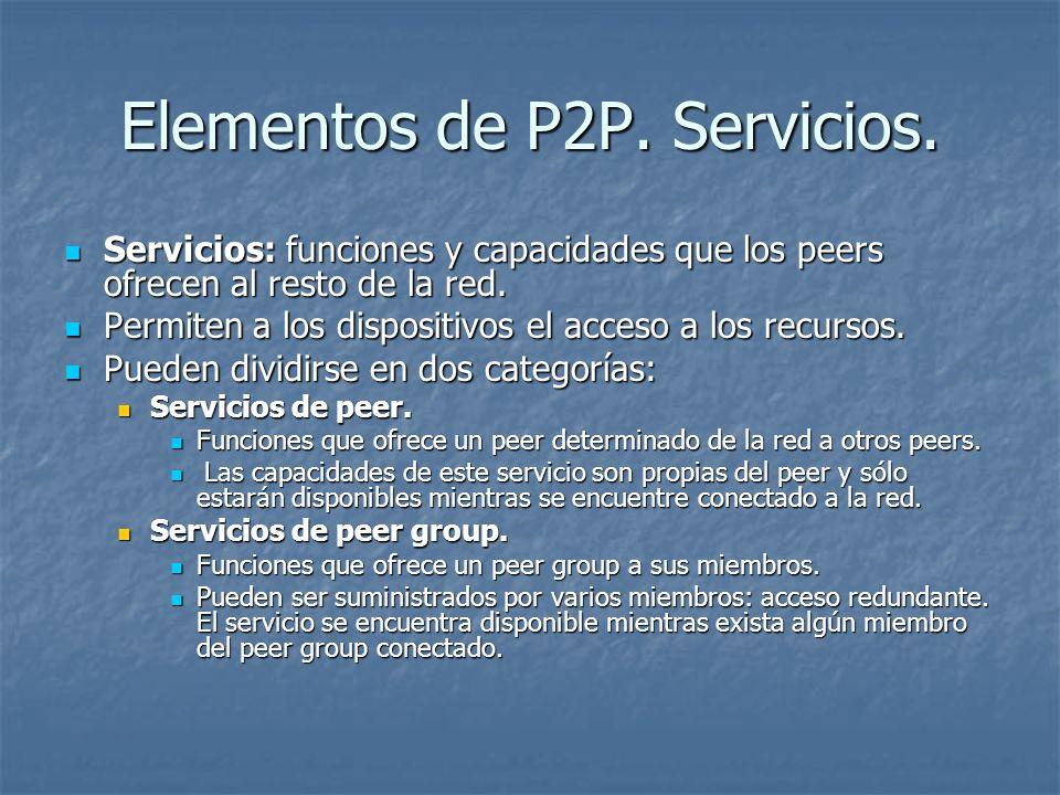 Elementos de P2P. Servicios. Servicios: funciones y capacidades que los peers ofrecen al resto de la red. Servicios: funciones y capacidades que los p