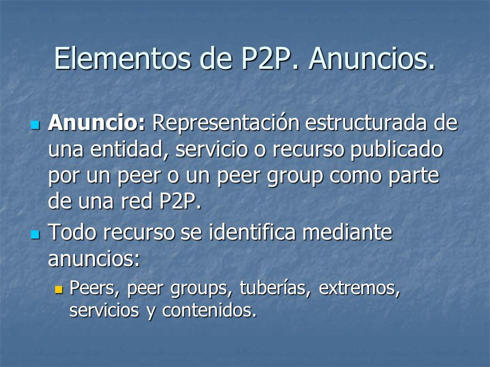 Elementos de P2P. Anuncios. Anuncio: Representación estructurada de una entidad, servicio o recurso publicado por un peer o un peer group como parte d