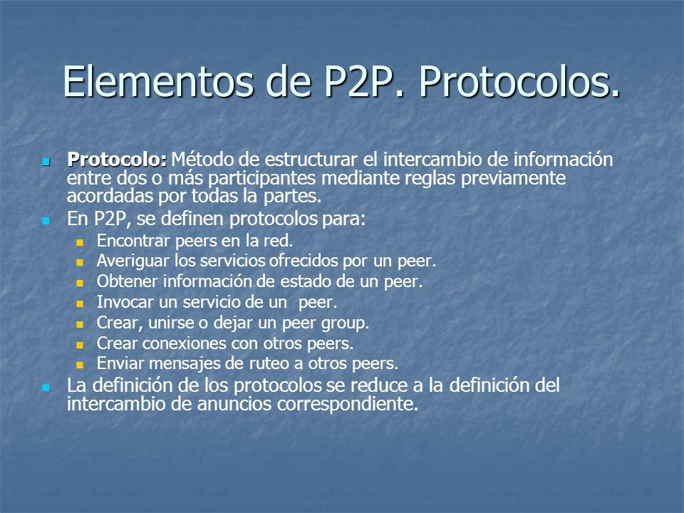 Elementos de P2P. Protocolos. Protocolo: Protocolo: Método de estructurar el intercambio de información entre dos o más participantes mediante reglas