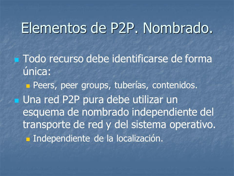 Elementos de P2P. Nombrado. Todo recurso debe identificarse de forma única: Peers, peer groups, tuberías, contenidos. Una red P2P pura debe utilizar u
