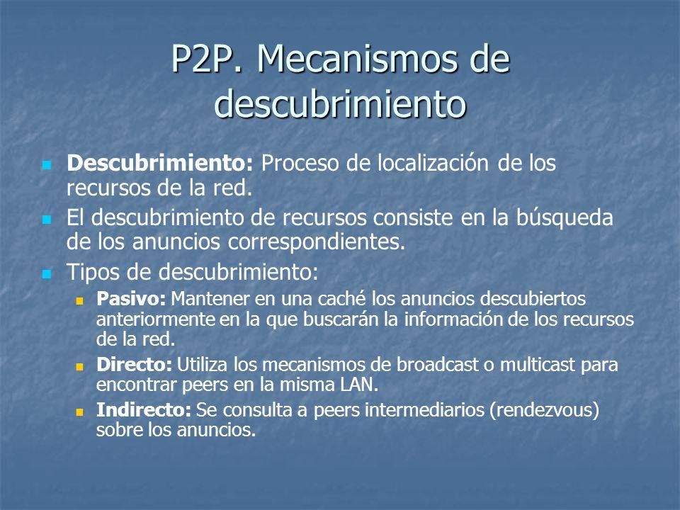 P2P. Mecanismos de descubrimiento Descubrimiento: Proceso de localización de los recursos de la red. El descubrimiento de recursos consiste en la búsq