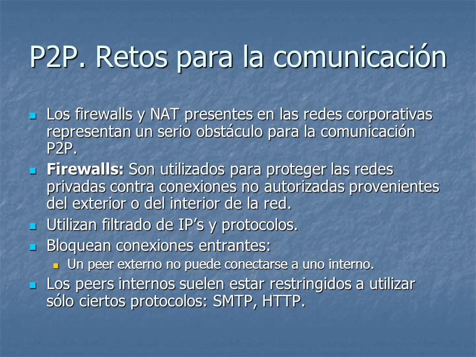 P2P. Retos para la comunicación Los firewalls y NAT presentes en las redes corporativas representan un serio obstáculo para la comunicación P2P. Los f