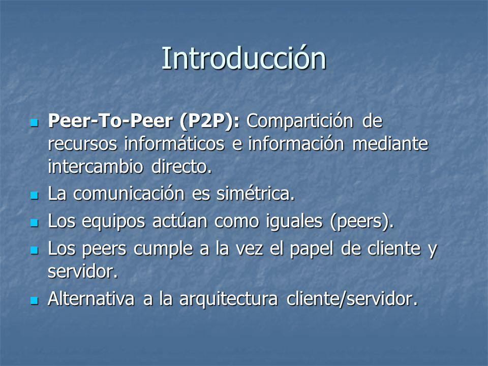 Introducción Peer-To-Peer (P2P): Compartición de recursos informáticos e información mediante intercambio directo. Peer-To-Peer (P2P): Compartición de