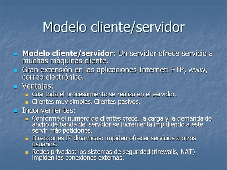 Modelo cliente/servidor: Un servidor ofrece servicio a muchas máquinas cliente. Modelo cliente/servidor: Un servidor ofrece servicio a muchas máquinas