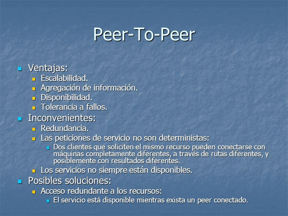 Peer-To-Peer Ventajas: Ventajas: Escalabilidad. Escalabilidad. Agregación de información. Agregación de información. Disponibilidad. Disponibilidad. T