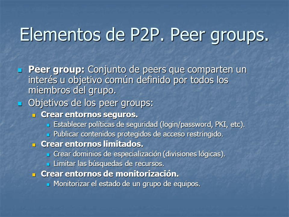 Elementos de P2P. Peer groups. Peer group: Conjunto de peers que comparten un interés u objetivo común definido por todos los miembros del grupo. Peer