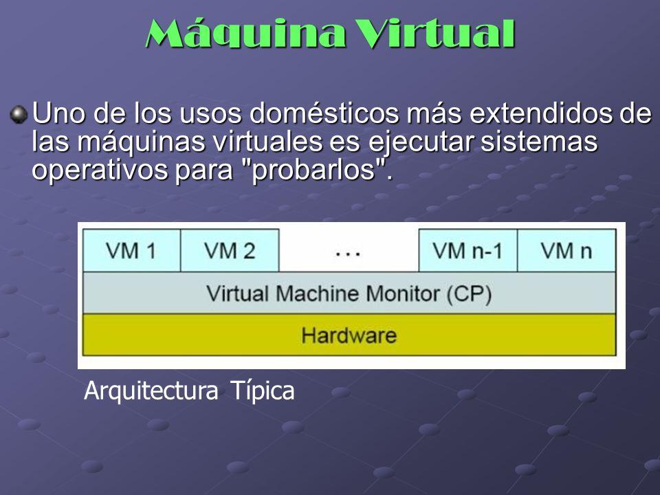 Máquina Virtual Uno de los usos domésticos más extendidos de las máquinas virtuales es ejecutar sistemas operativos para