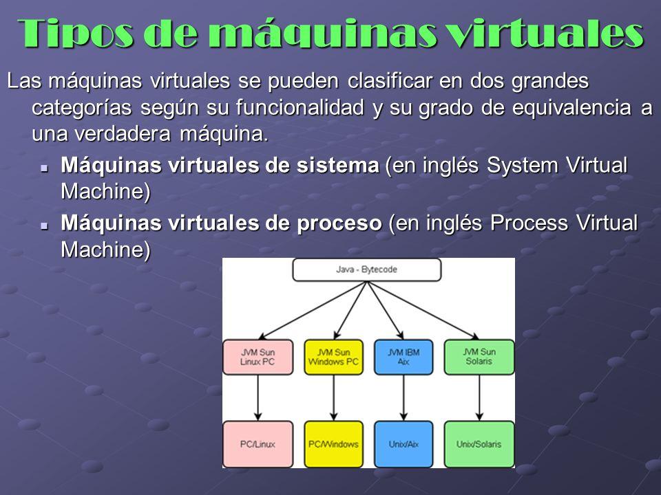 Tipos de máquinas virtuales Las máquinas virtuales se pueden clasificar en dos grandes categorías según su funcionalidad y su grado de equivalencia a