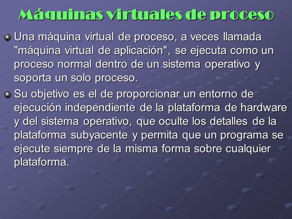 Máquinas virtuales de proceso Una máquina virtual de proceso, a veces llamada