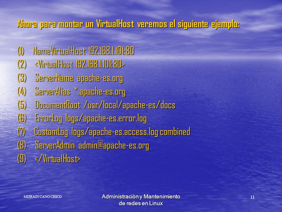 Administraciòn y Mantenimiento de redes en Linux Ahora para montar un VirtualHost veremos el siguiente ejemplo: (1) NameVirtualHost 192.168.1.101:80 (2) (2) (3) ServerName apache-es.org (4) ServerAlias *.apache-es.org (5) DocumentRoot /usr/local/apache-es/docs (6) ErrorLog logs/apache-es.error.log (7) CustomLog logs/apache-es.access.log combined (8) ServerAdmin admin@apache-es.org (9) (9) 11 MIZRAIN CANO CHICO