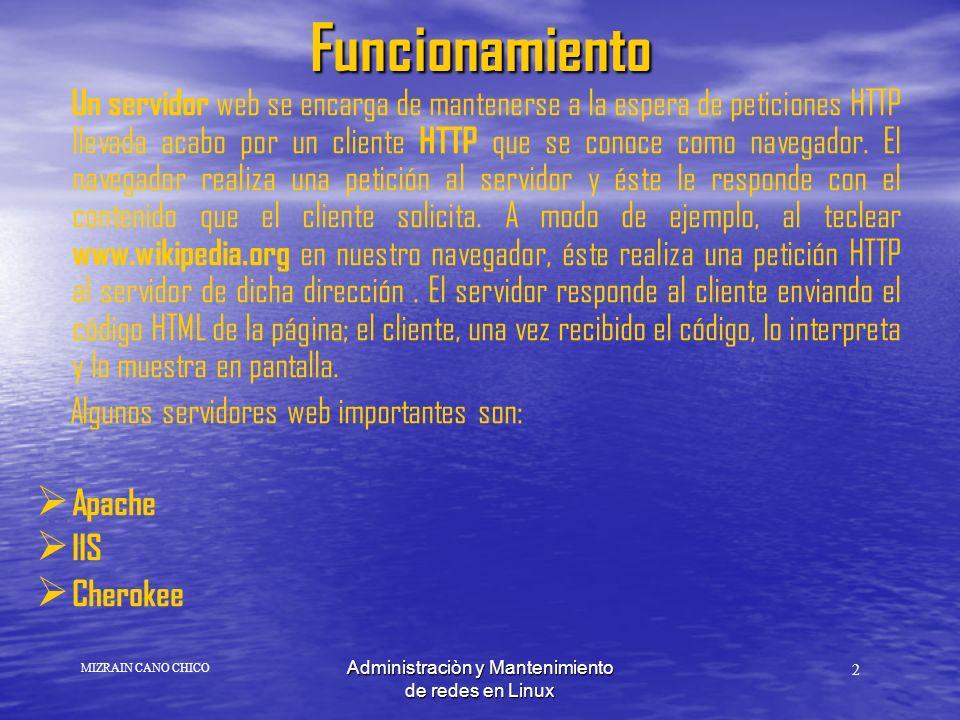 Administraciòn y Mantenimiento de redes en LinuxFuncionamiento Un servidor web se encarga de mantenerse a la espera de peticiones HTTP llevada acabo por un cliente HTTP que se conoce como navegador.