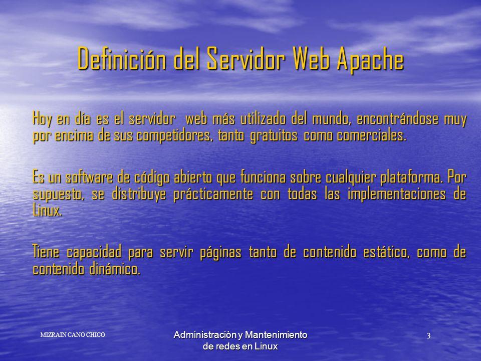 Administraciòn y Mantenimiento de redes en Linux Apache es actualmente el servidor mas popular en Internet y funciona en muchas arquitecturas Apache es actualmente el servidor mas popular en Internet y funciona en muchas arquitecturas El nombre apache surge del hecho de que inicialmente no era mas que una versión parcheada A PAtCHy de http.