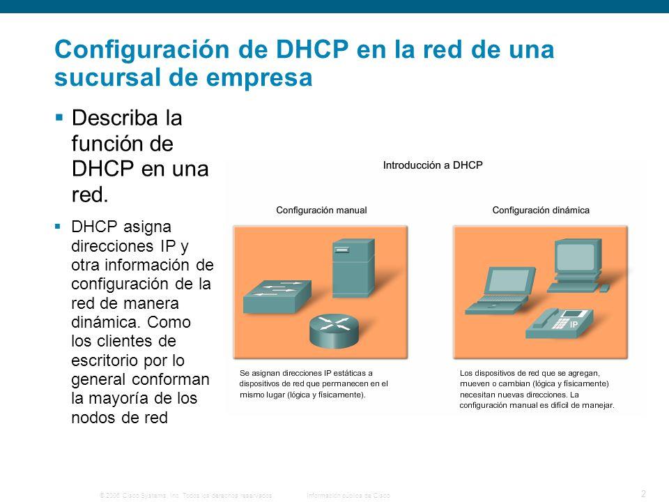 © 2006 Cisco Systems, Inc. Todos los derechos reservados.Información pública de Cisco 2 Configuración de DHCP en la red de una sucursal de empresa Des