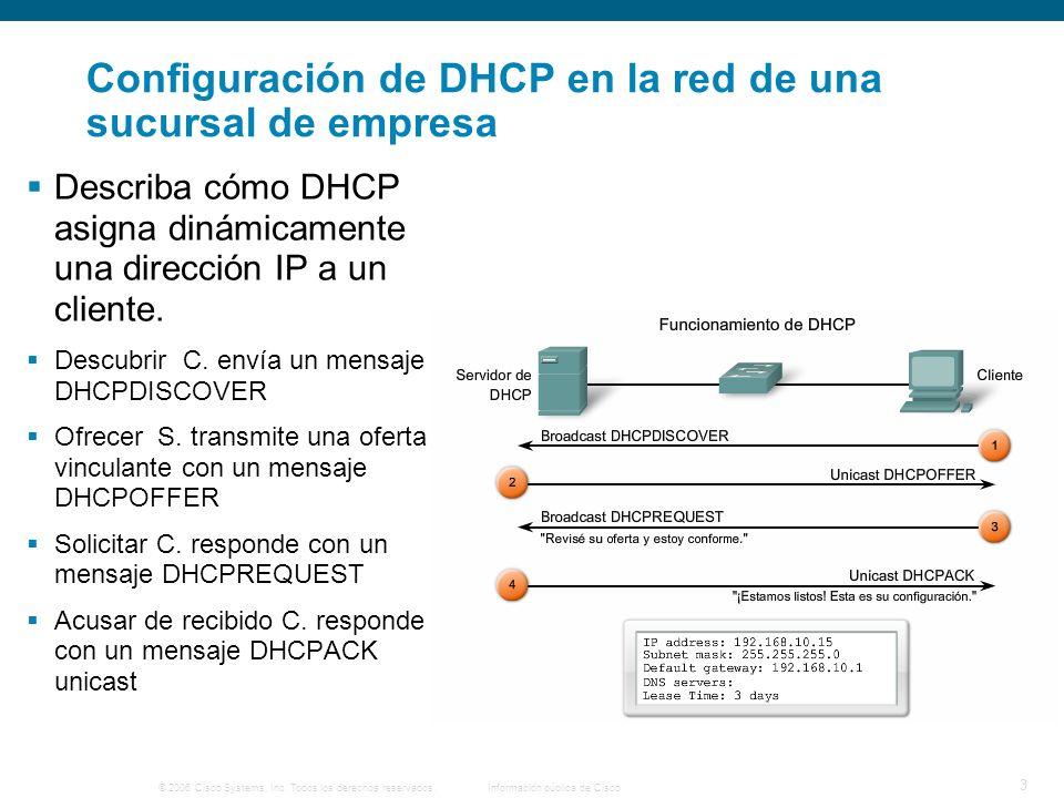 © 2006 Cisco Systems, Inc. Todos los derechos reservados.Información pública de Cisco 3 Configuración de DHCP en la red de una sucursal de empresa Des