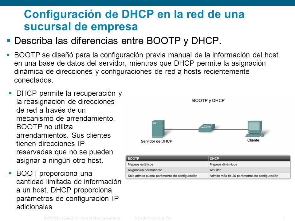 © 2006 Cisco Systems, Inc. Todos los derechos reservados.Información pública de Cisco 4 Configuración de DHCP en la red de una sucursal de empresa Des