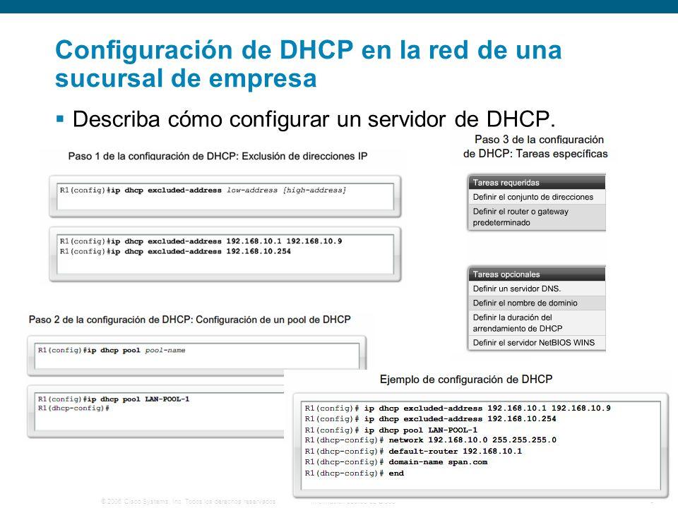 © 2006 Cisco Systems, Inc. Todos los derechos reservados.Información pública de Cisco 5 Configuración de DHCP en la red de una sucursal de empresa Des