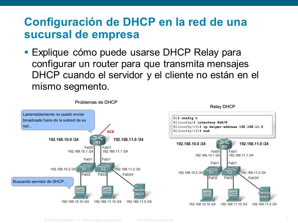 © 2006 Cisco Systems, Inc. Todos los derechos reservados.Información pública de Cisco 7 Configuración de DHCP en la red de una sucursal de empresa Exp
