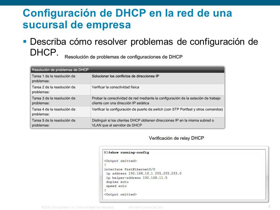 © 2006 Cisco Systems, Inc. Todos los derechos reservados.Información pública de Cisco 8 Configuración de DHCP en la red de una sucursal de empresa Des