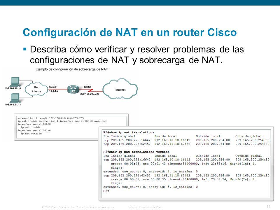© 2006 Cisco Systems, Inc. Todos los derechos reservados.Información pública de Cisco 11 Configuración de NAT en un router Cisco Describa cómo verific