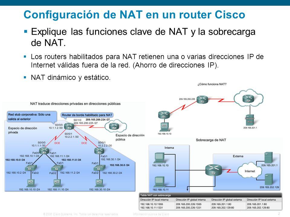 © 2006 Cisco Systems, Inc. Todos los derechos reservados.Información pública de Cisco 2 Configuración de NAT en un router Cisco Explique las funciones