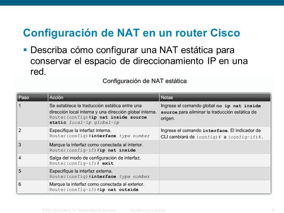 © 2006 Cisco Systems, Inc. Todos los derechos reservados.Información pública de Cisco 4 Configuración de NAT en un router Cisco Describa cómo configur