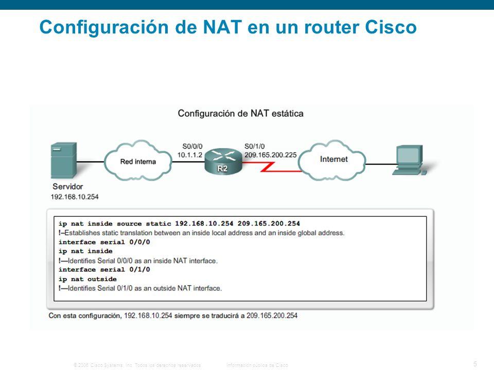 © 2006 Cisco Systems, Inc. Todos los derechos reservados.Información pública de Cisco 5 Configuración de NAT en un router Cisco