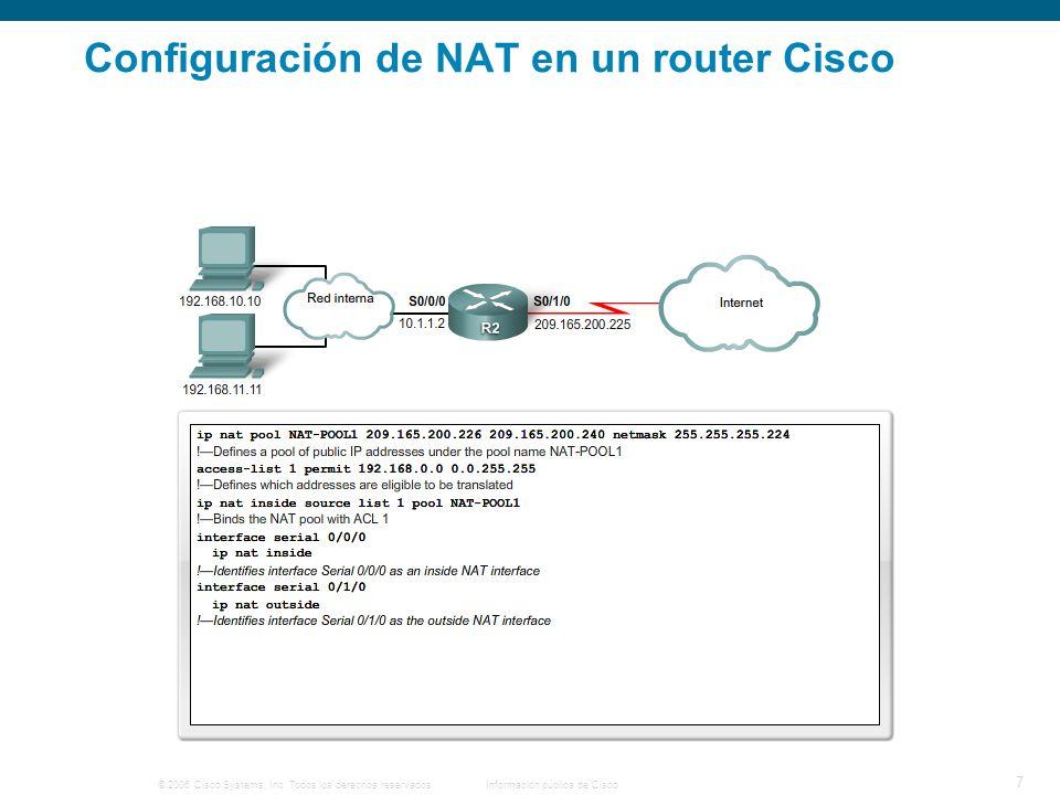 © 2006 Cisco Systems, Inc. Todos los derechos reservados.Información pública de Cisco 7 Configuración de NAT en un router Cisco