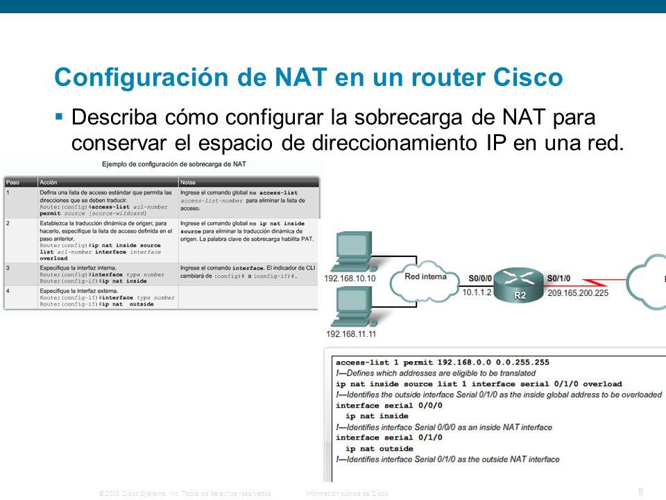© 2006 Cisco Systems, Inc. Todos los derechos reservados.Información pública de Cisco 8 Configuración de NAT en un router Cisco Describa cómo configur