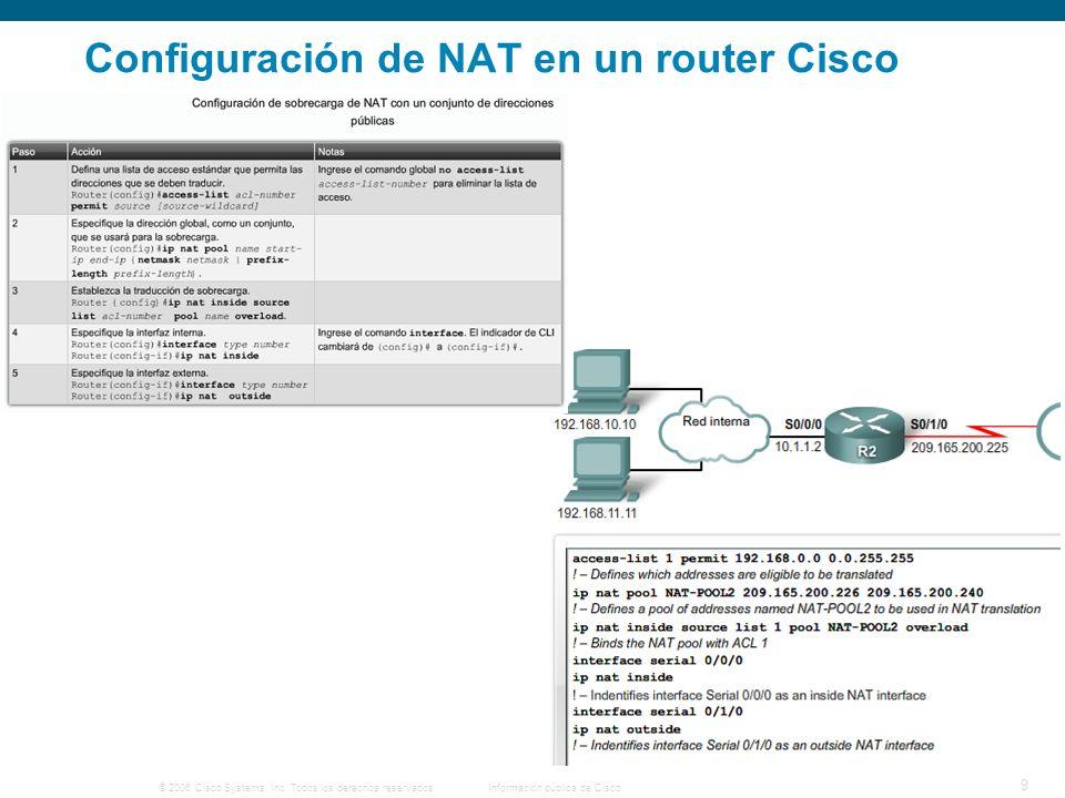 © 2006 Cisco Systems, Inc. Todos los derechos reservados.Información pública de Cisco 9 Configuración de NAT en un router Cisco