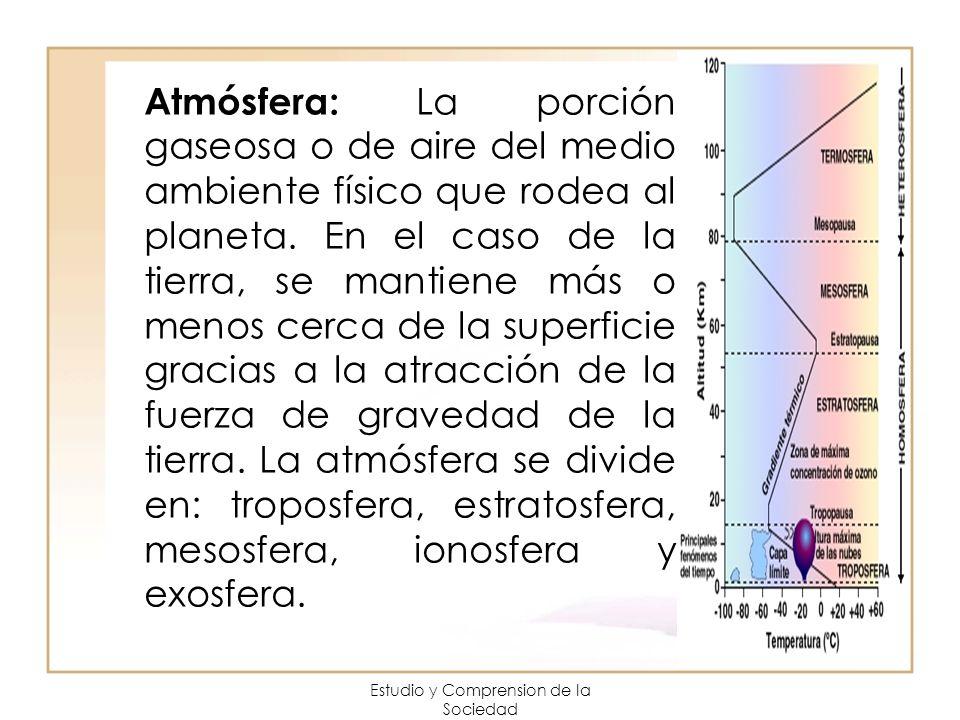 Estudio y Comprension de la Sociedad Atmósfera: La porción gaseosa o de aire del medio ambiente físico que rodea al planeta. En el caso de la tierra,