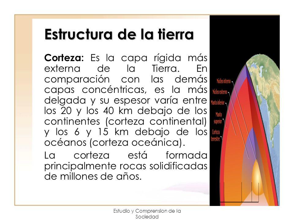 Estudio y Comprension de la Sociedad Estructura de la tierra Corteza: Es la capa rígida más externa de la Tierra. En comparación con las demás capas c