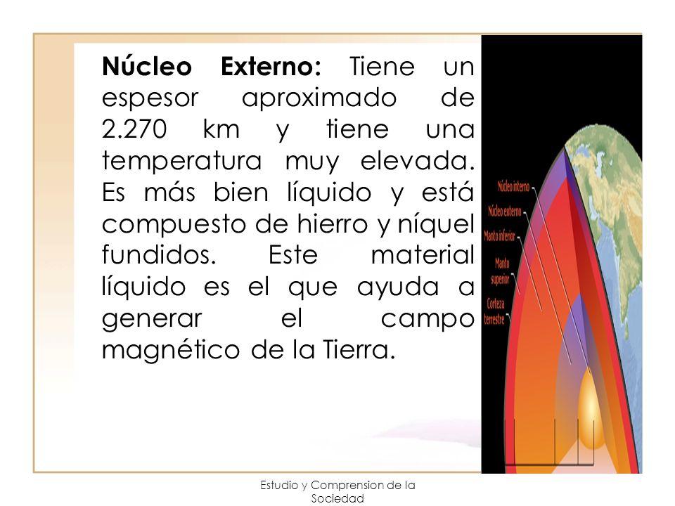 Estudio y Comprension de la Sociedad Núcleo Externo: Tiene un espesor aproximado de 2.270 km y tiene una temperatura muy elevada. Es más bien líquido