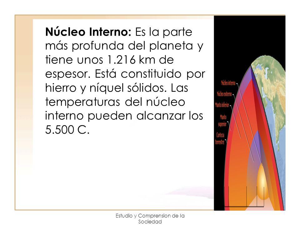 Estudio y Comprension de la Sociedad Núcleo Interno: Es la parte más profunda del planeta y tiene unos 1.216 km de espesor. Está constituido por hierr