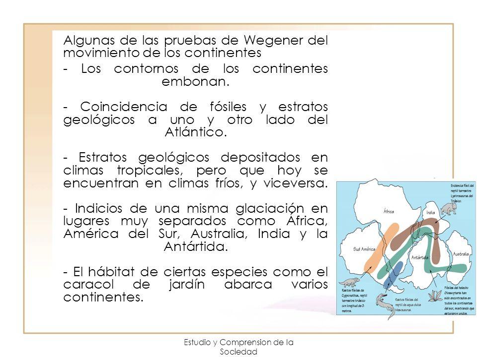 Estudio y Comprension de la Sociedad Algunas de las pruebas de Wegener del movimiento de los continentes - Los contornos de los continentes embonan. -