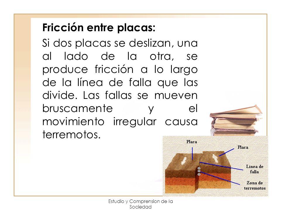 Estudio y Comprension de la Sociedad Fricción entre placas: Si dos placas se deslizan, una al lado de la otra, se produce fricción a lo largo de la lí