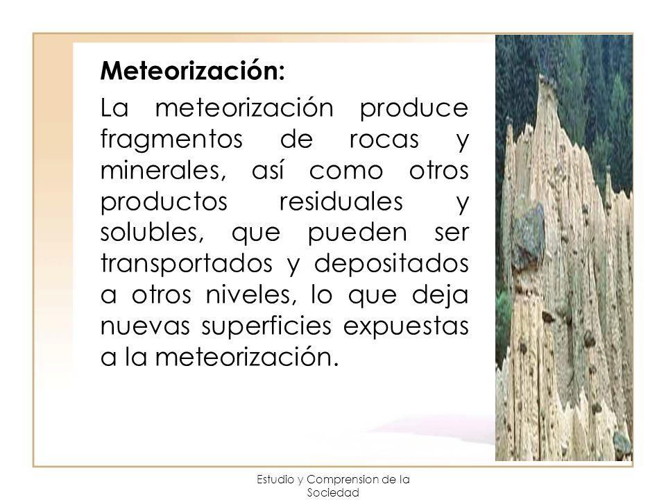 Estudio y Comprension de la Sociedad Meteorización: La meteorización produce fragmentos de rocas y minerales, así como otros productos residuales y so