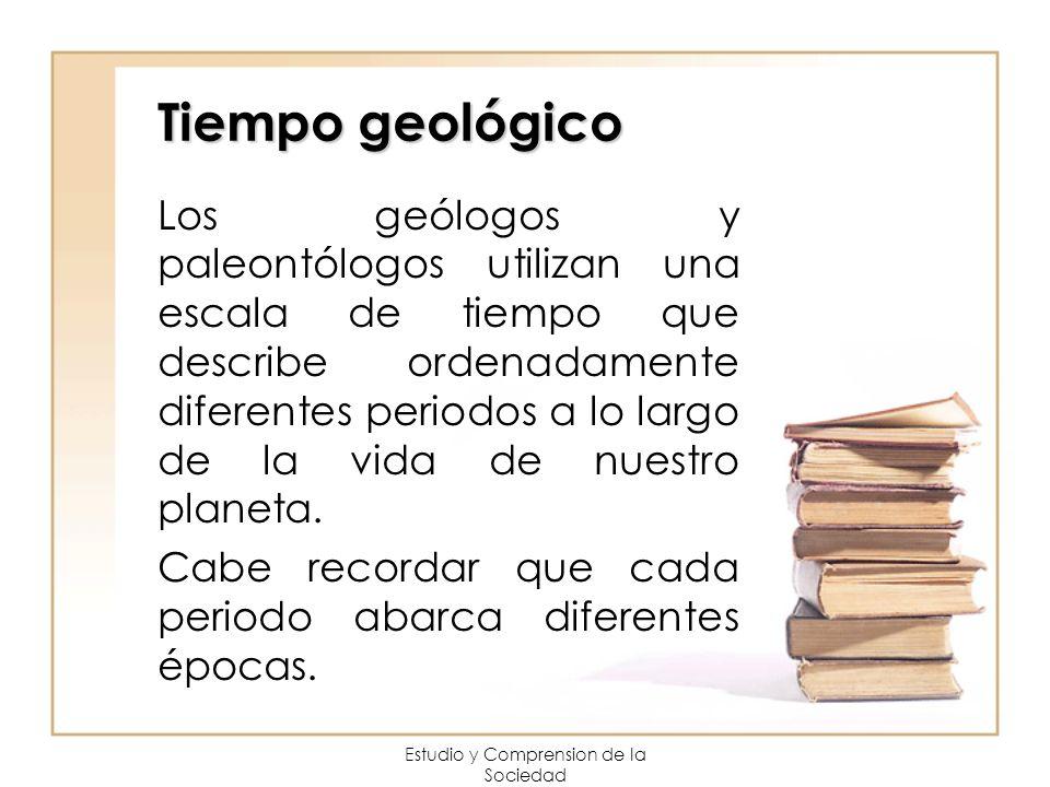 Tiempo geológico Los geólogos y paleontólogos utilizan una escala de tiempo que describe ordenadamente diferentes periodos a lo largo de la vida de nu