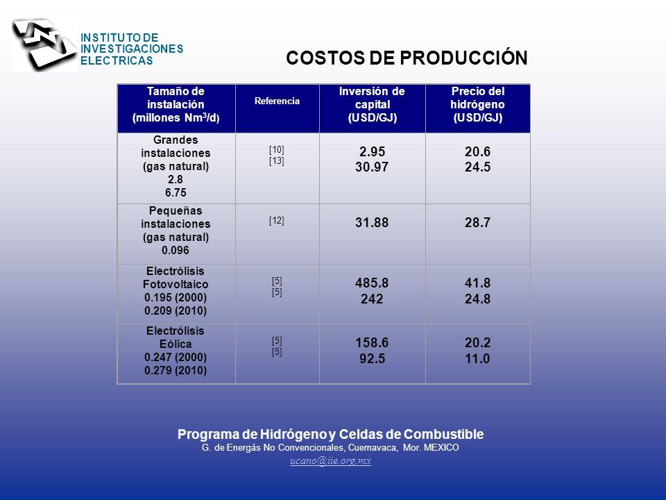 INSTITUTO DE INVESTIGACIONES ELECTRICAS INSTITUTO DE INVESTIGACIONES ELECTRICAS HIDRÓGENO Programa de Hidrógeno y Celdas de Combustible G. de Energás