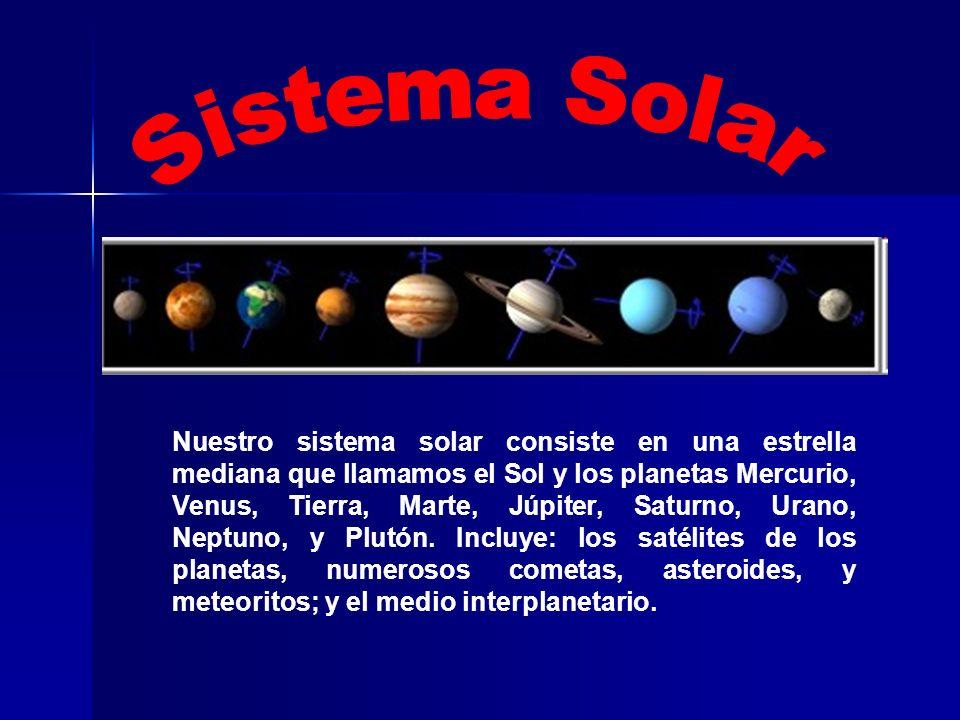 Nuestro sistema solar consiste en una estrella mediana que llamamos el Sol y los planetas Mercurio, Venus, Tierra, Marte, Júpiter, Saturno, Urano, Nep