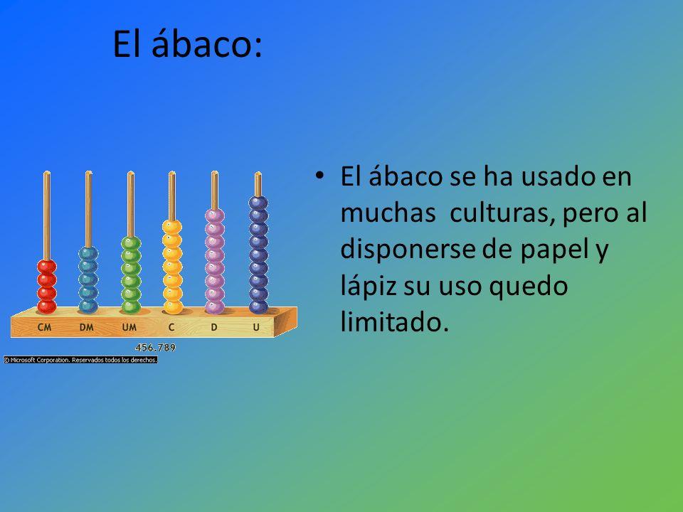 El ábaco: El ábaco se ha usado en muchas culturas, pero al disponerse de papel y lápiz su uso quedo limitado.