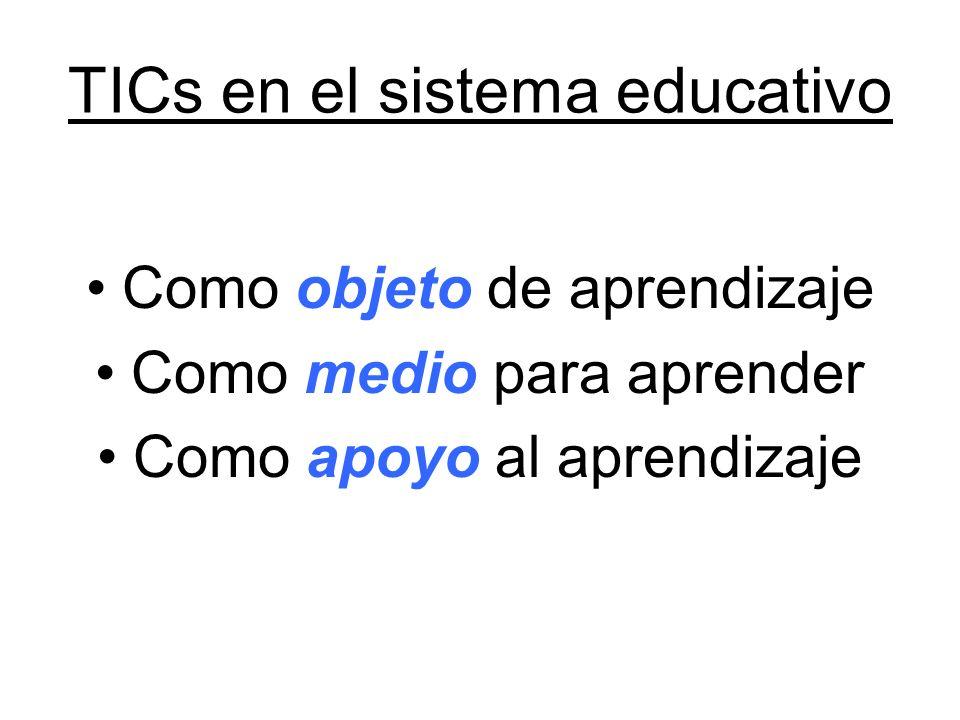 TICs en el sistema educativo Como objeto de aprendizaje Como medio para aprender Como apoyo al aprendizaje