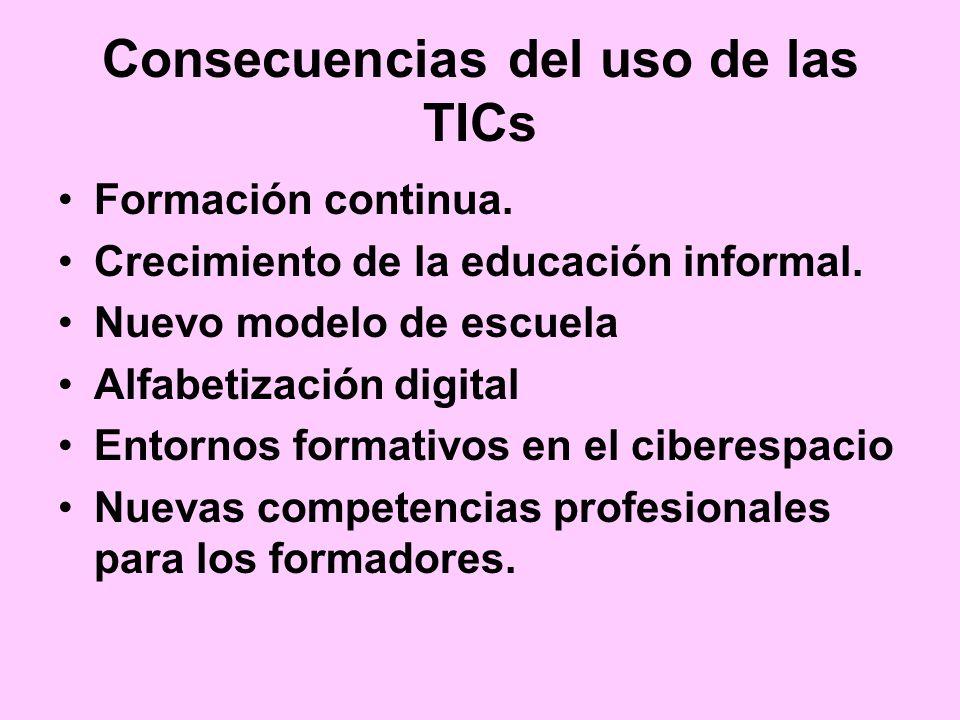 Consecuencias del uso de las TICs Formación continua. Crecimiento de la educación informal. Nuevo modelo de escuela Alfabetización digital Entornos fo