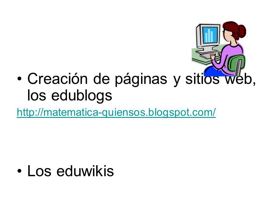 Creación de páginas y sitios web, los edublogs http://matematica-quiensos.blogspot.com/ Los eduwikis